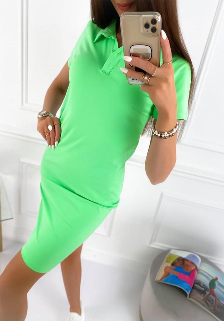 Polo Yaka Basic Elbise (Yeşil)