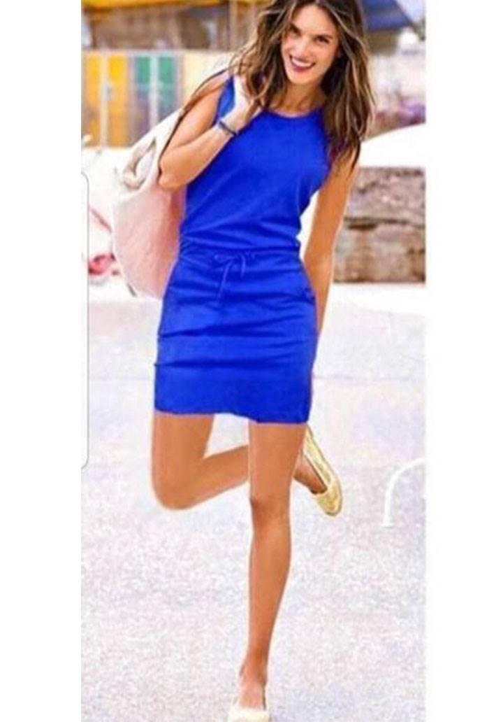 Beli bağcıklı cepli kolsuz spor elbise(sax)
