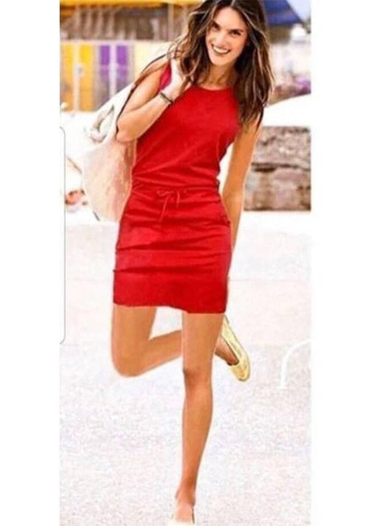 Beli bağcıklı cepli kolsuz spor elbise(kırmızı)