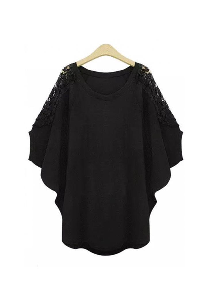 Omuz Dantel Detay Tunik (Siyah)