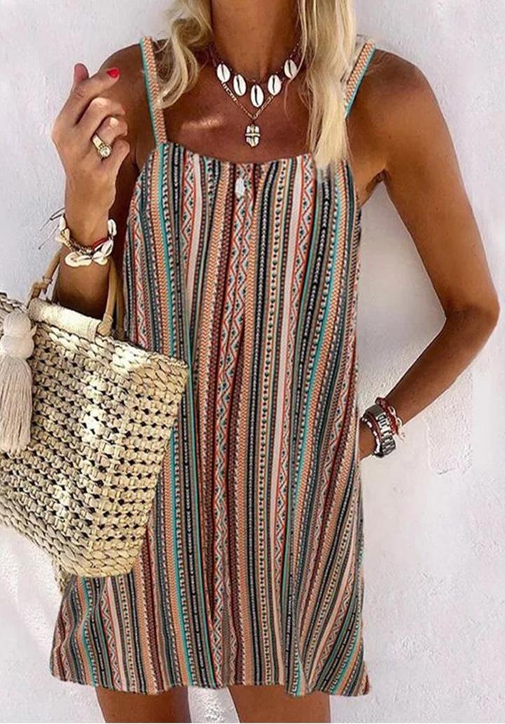 Vintage Desen İp Askılı Elbise