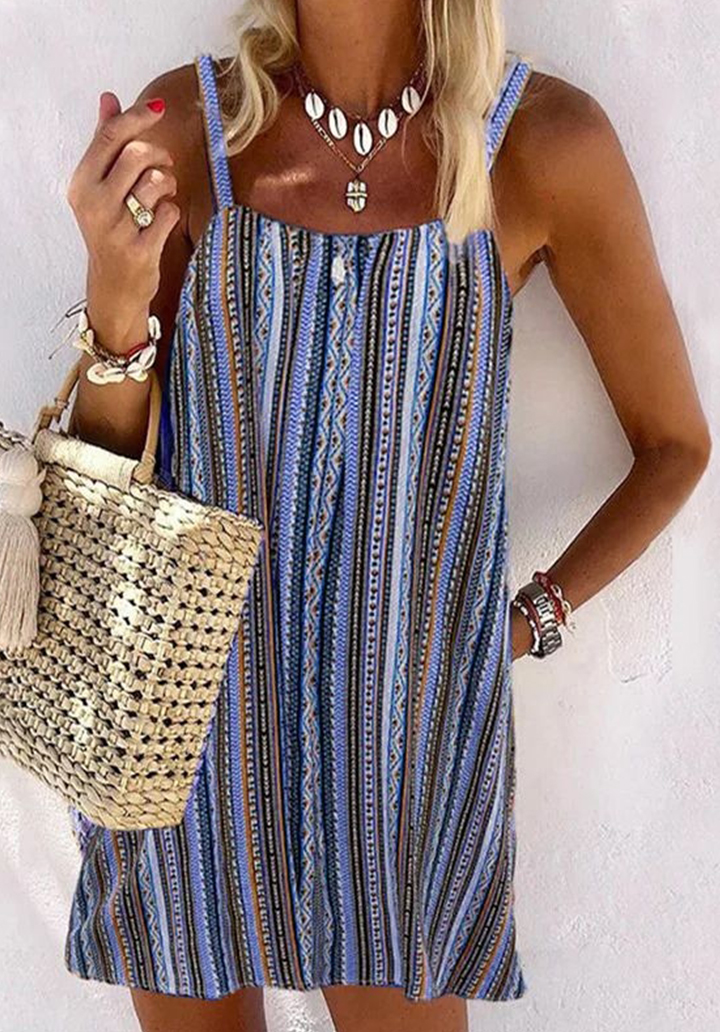 Vintage Desen İp Askılı Elbise (Mavi)