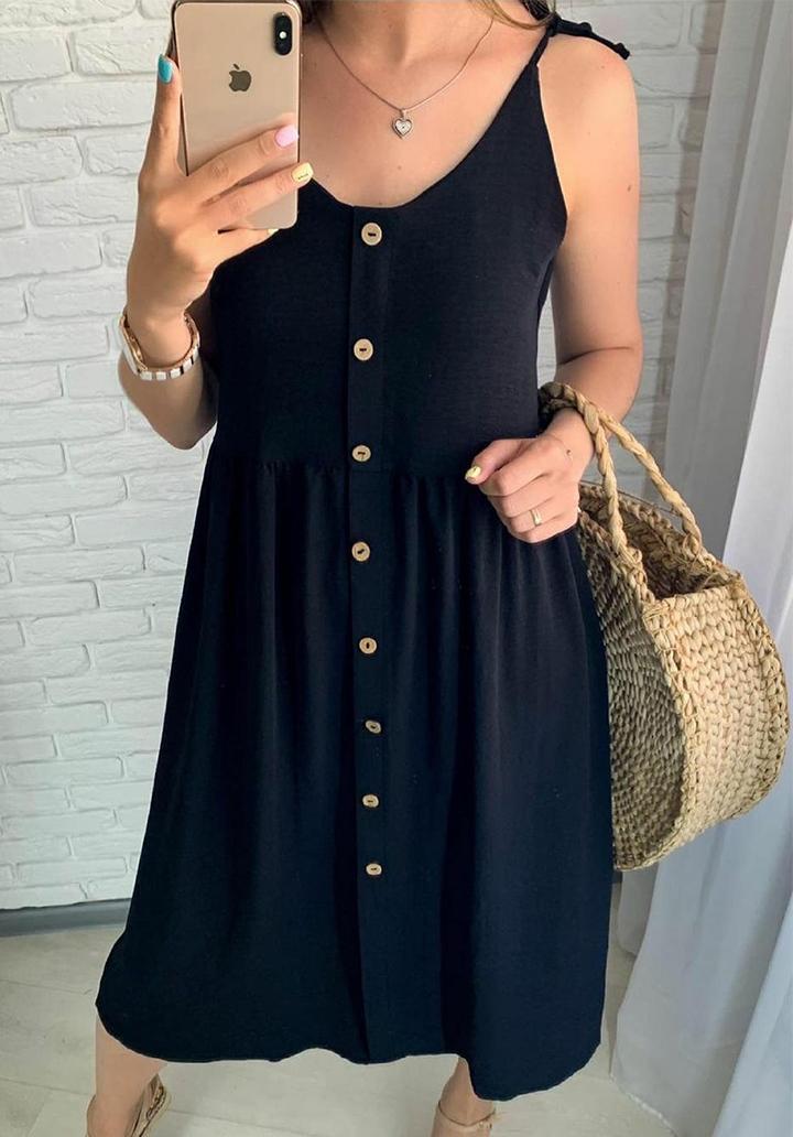 İp Askılı Düğmeli Midi Boy Elbise (Siyah)