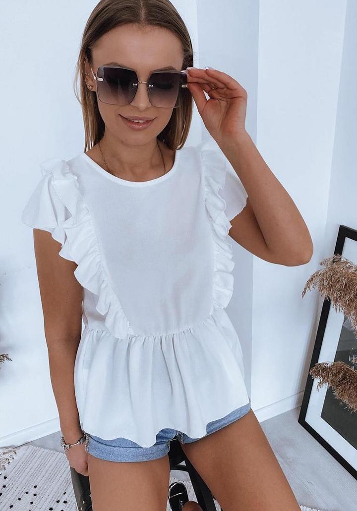 Kol Volanlı Quen Crep Bluz (Beyaz)