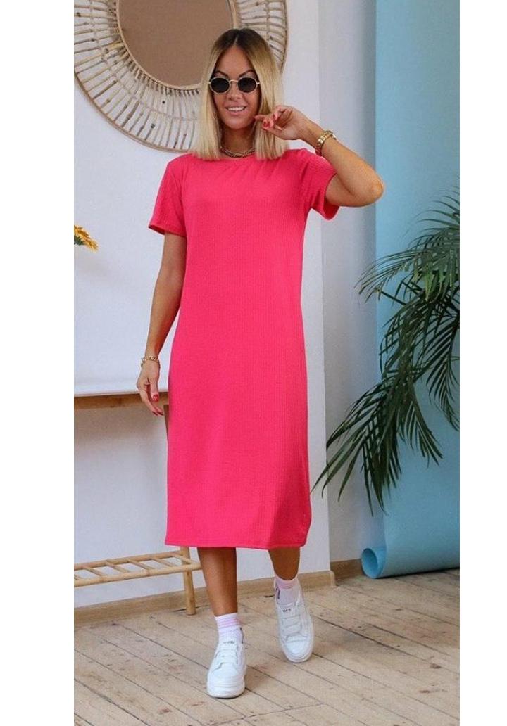 Midi Boy Kaşkorse Basic Elbise (Fuşya)