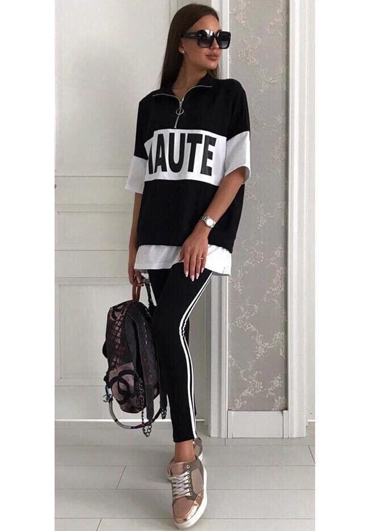 Eteği Tshırt Görünümlü Bluz Şeritli Pantolon Spor Takım