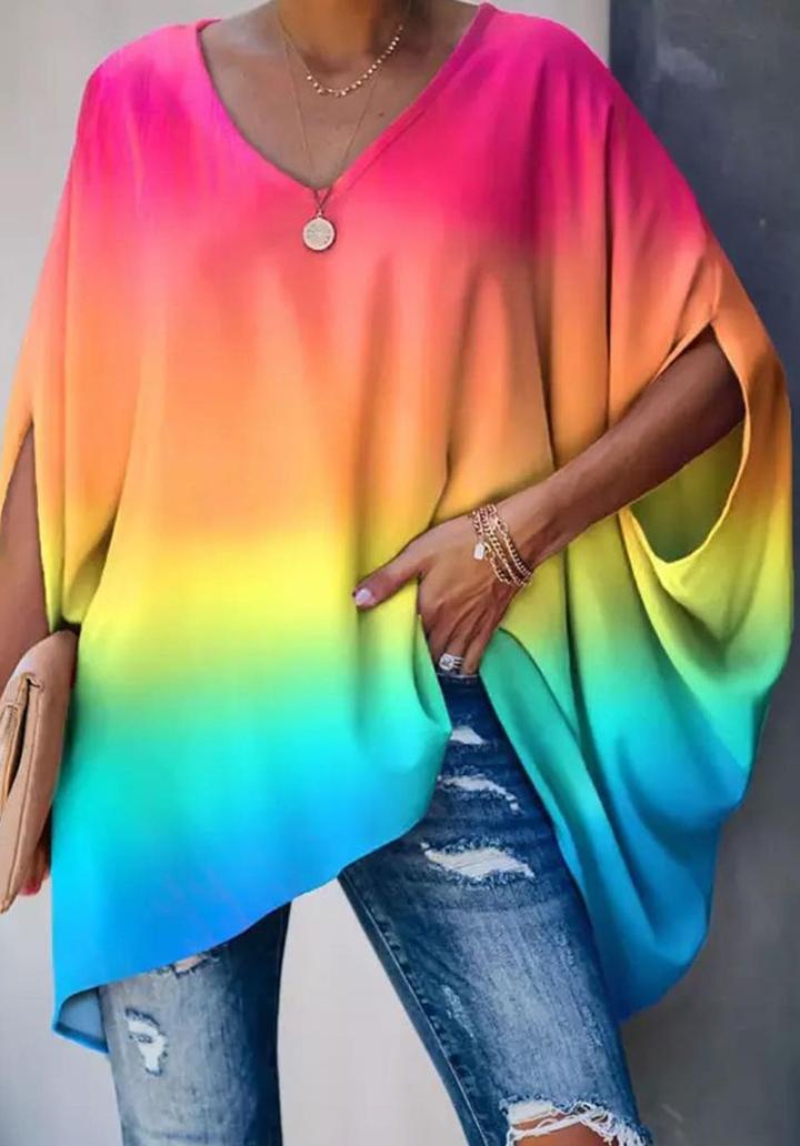 V Yaka Digital Baskı Rengareng Tunik