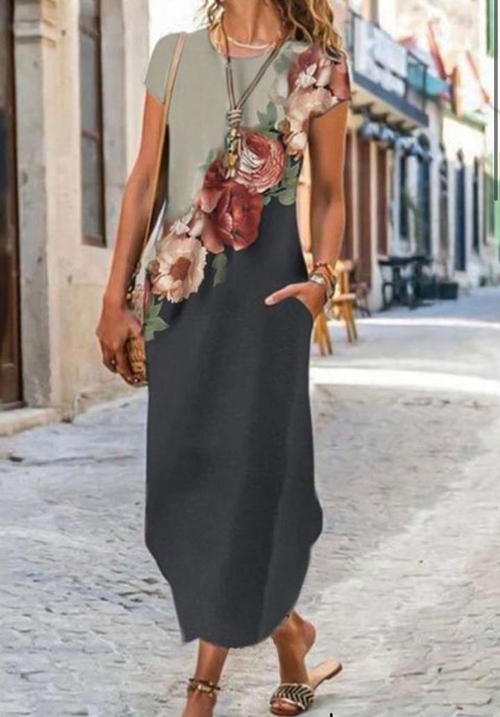 Digital Baskı Çiçek Desen Elbise