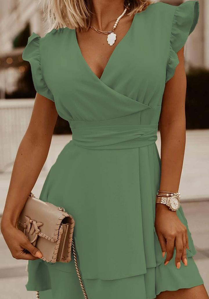 Kruvaze Yaka Kat Kat Etekli Airobin Elbise (Yeşil)