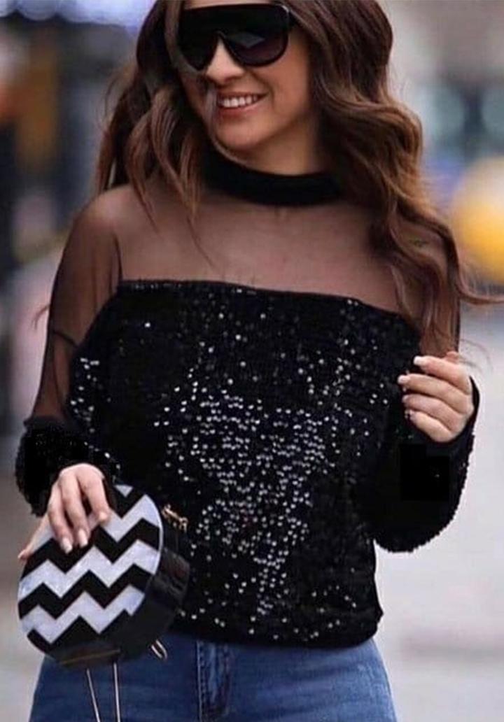 Payetli Yakası Tül Detay Bluz
