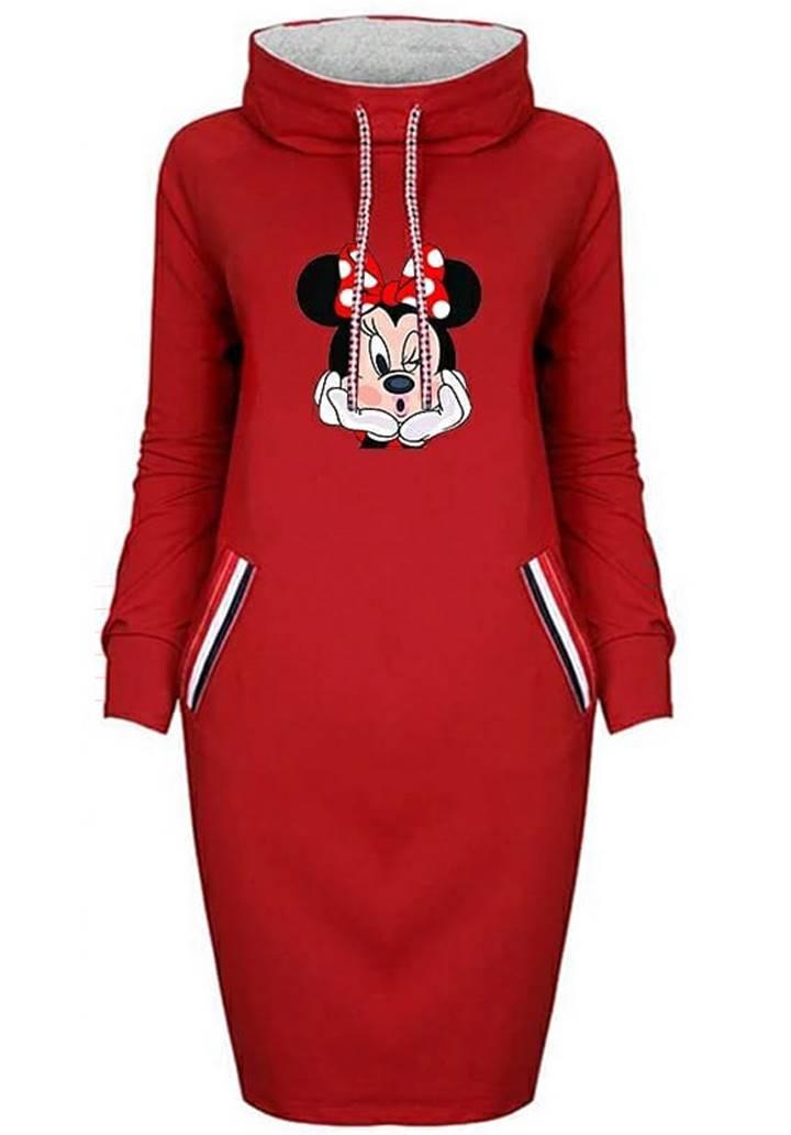 Minnie baskılı cep aksesuar şerit elbise(Kırmızı) - 2