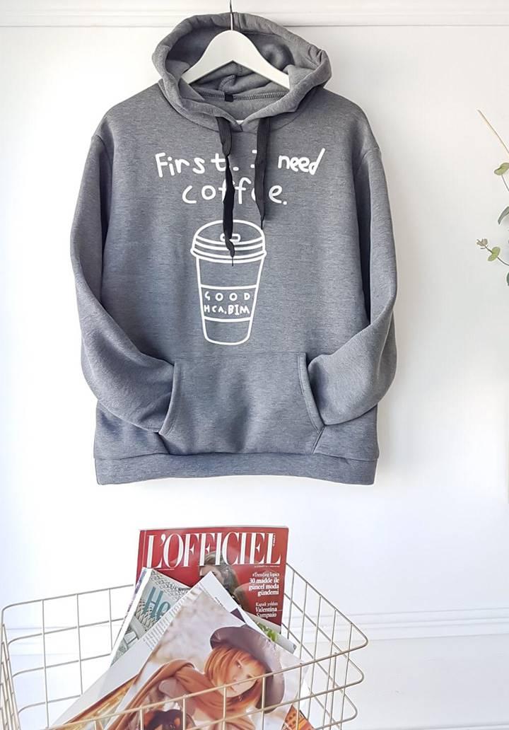 Kapşonlu İçi Şardonlu Coffee Sweatshırt - 2