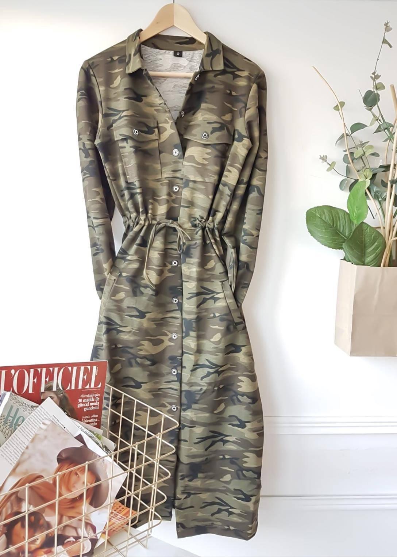 Kamuflaj desen maxı boy elbise - 2