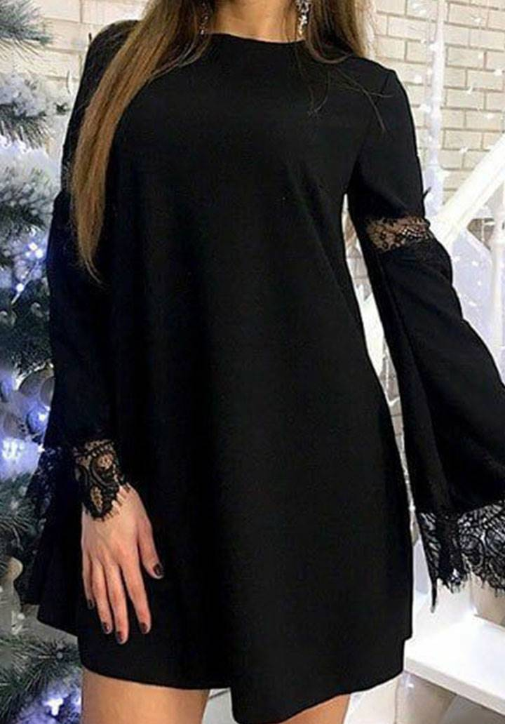 Kolları Dantel Detaylı Kloş Elbise(siyah) - 2