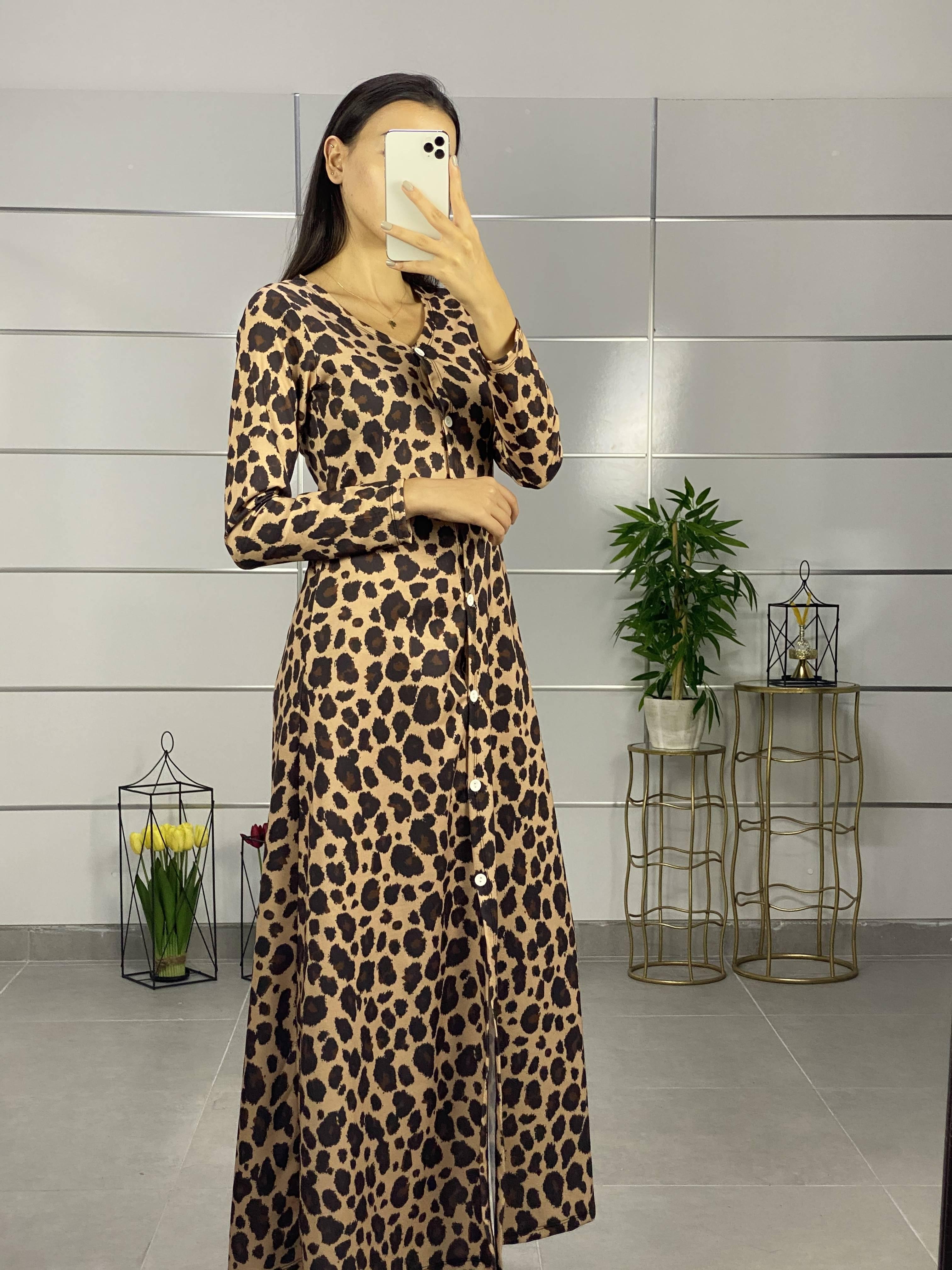 Leopar Desen Maxı Boy Gömlek Elbise(vizon) - 2