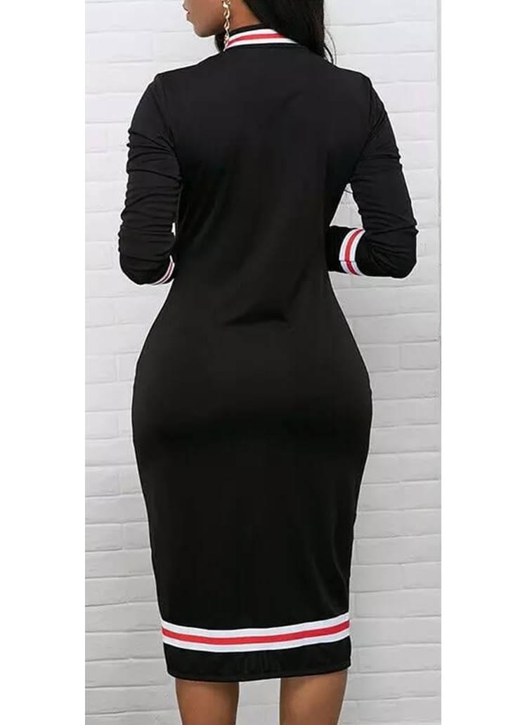 Yakası Fermuarlı Biyeli Dalgıç Kumaş Elbise  - 2