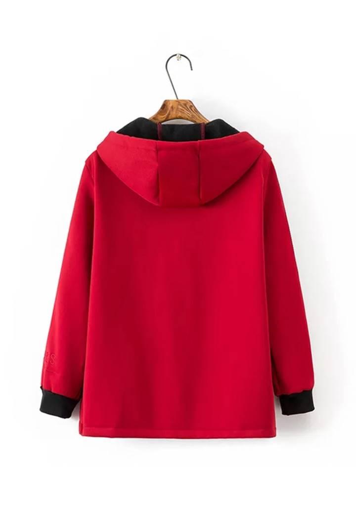 Kapşonlu Kolları Biyeli Şardonlu Ceket (Kırmızı) - 2