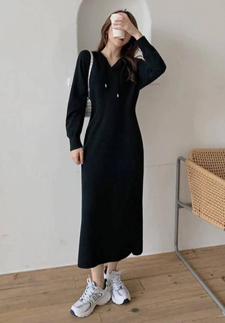 Kapşonlu Fitilli Triko Basic Elbise (Siyah) - 3