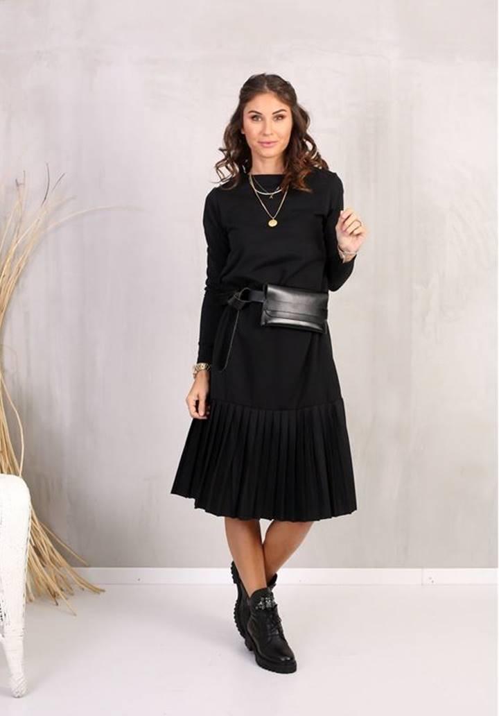 Eteği Pliseli Midi Boy Elbise (Siyah) - 3