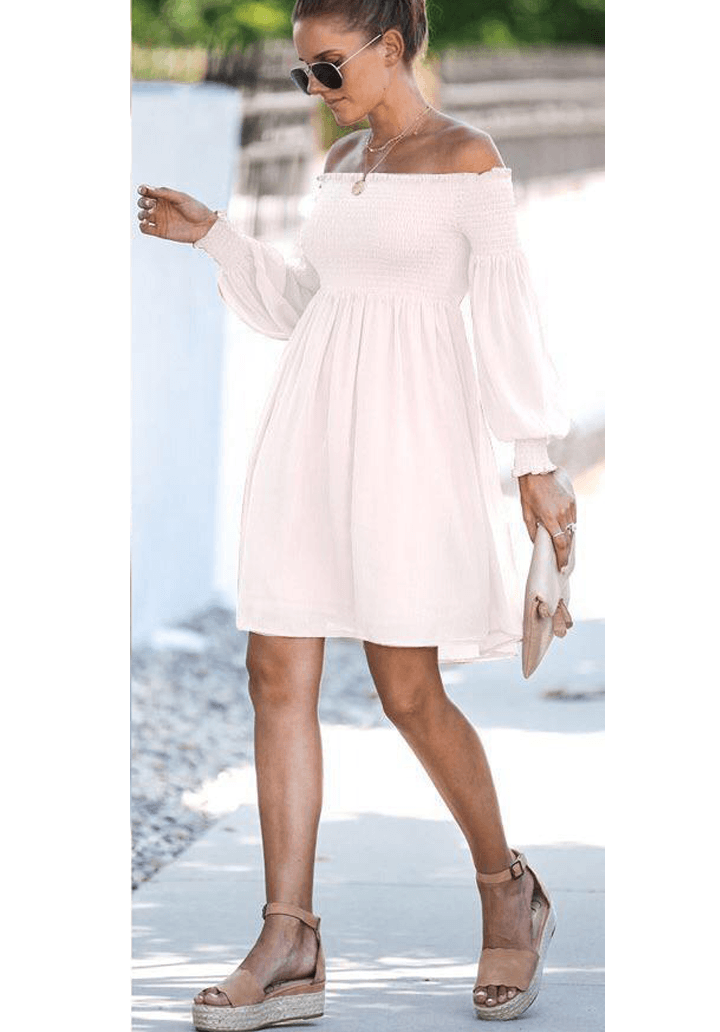 Ekru madonna yaka gipeli elbise - 3