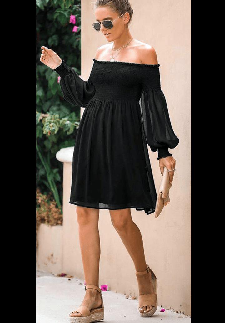 Siyah madonna yaka gipeli elbise - 3
