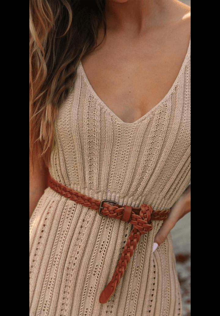 Nude içi astarlı triko elbise - 2