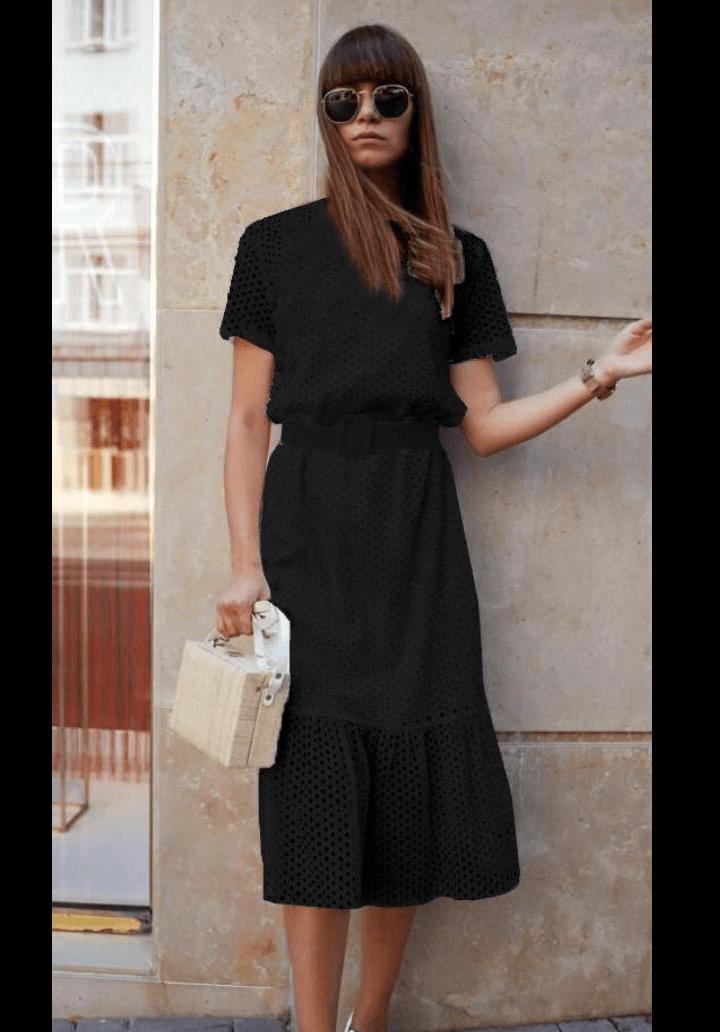 Siyah kemerli fisto elbise - 3