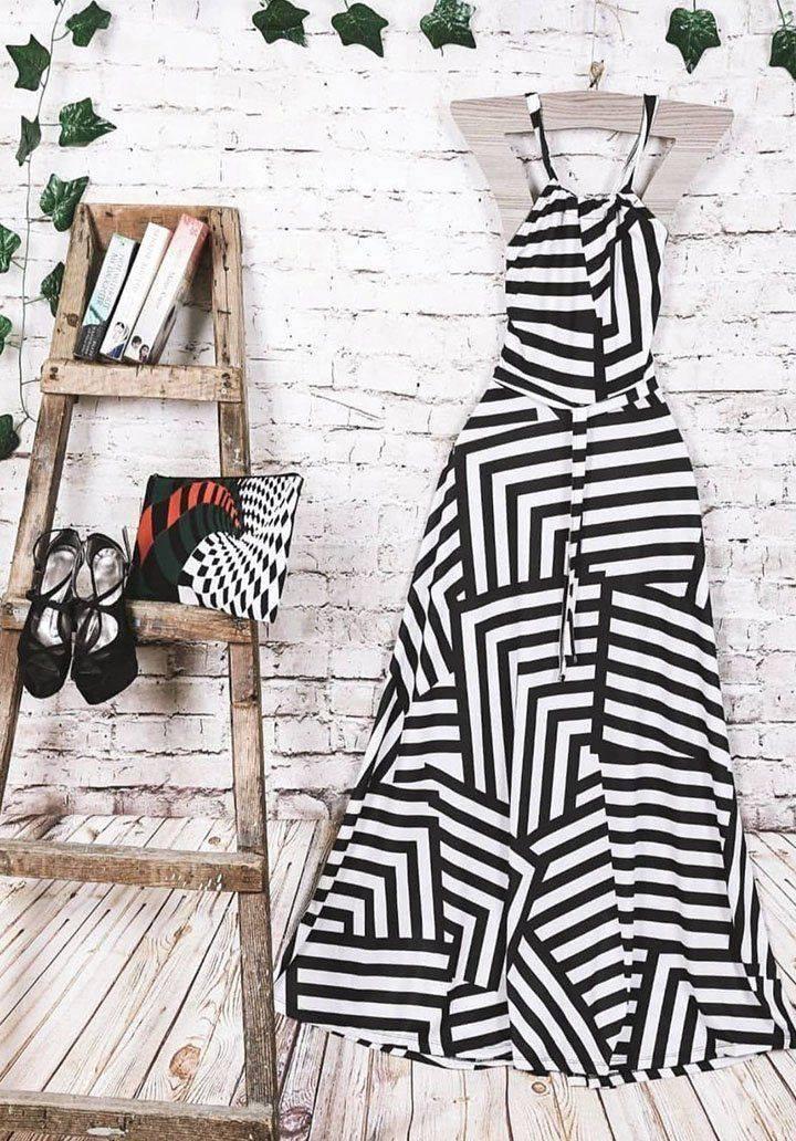 Maxi boy zebra desen elbise - 2