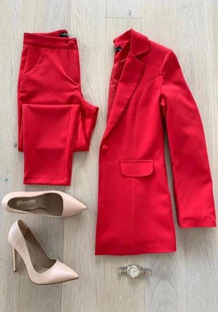 Kırmızı atlas kumaş takım - 2