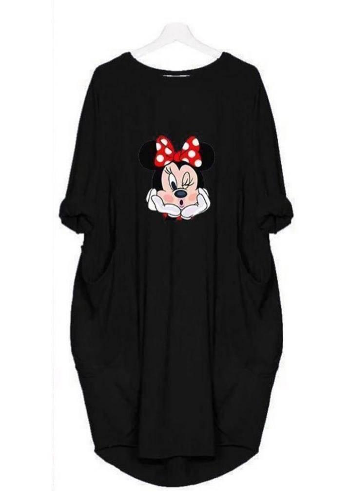 Minnie baskılı viscon elbise(siyah) - 2