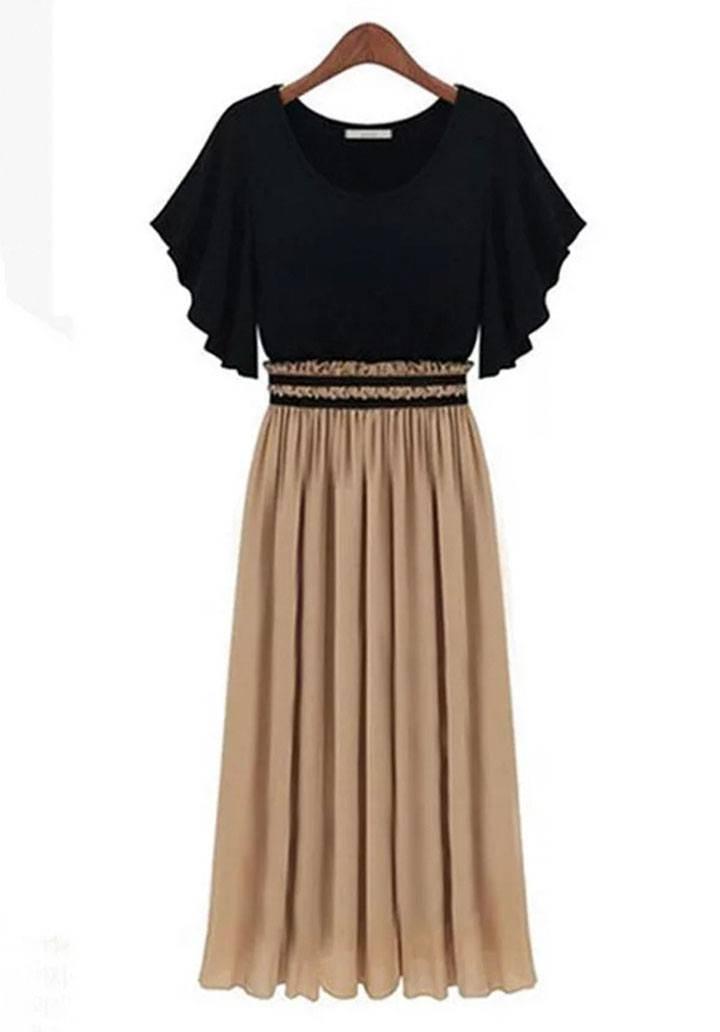 Eteği vizon beli lastikli tasarım elbise - 2