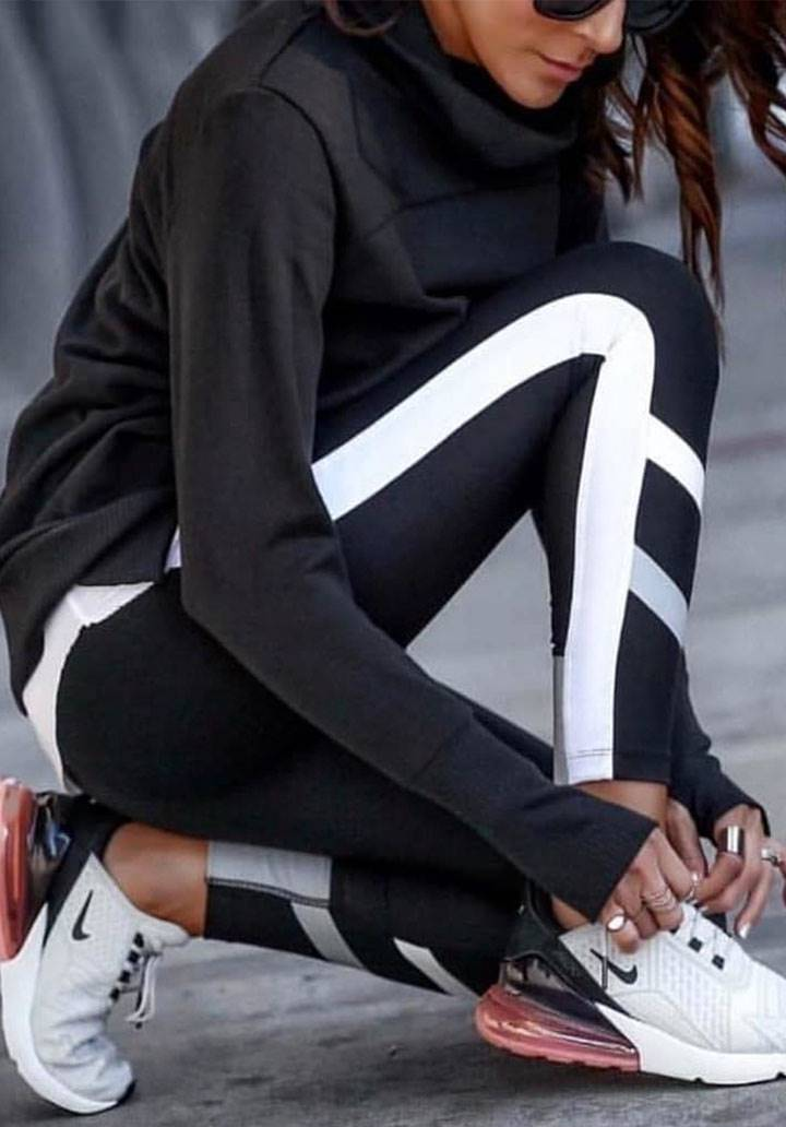 Siyah şeritli sporcu tayt - 2
