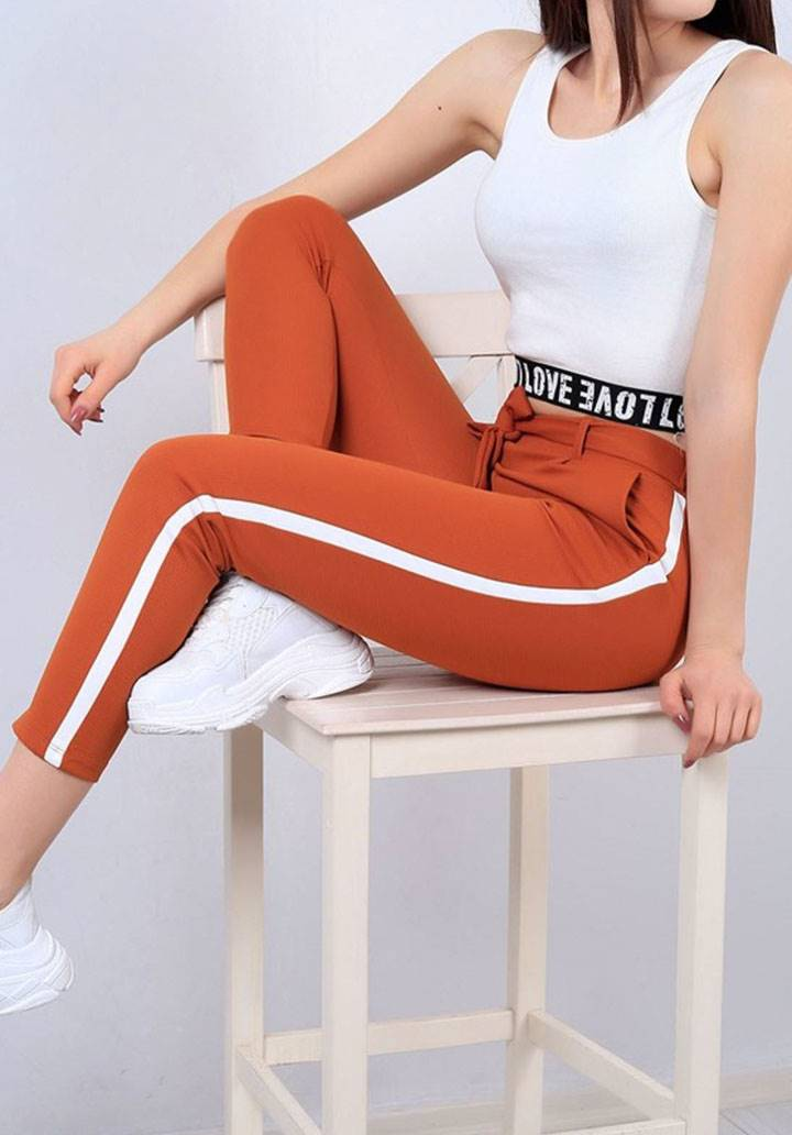 Şeritli cepli yeni sezon pantalon(kiremit) - 2