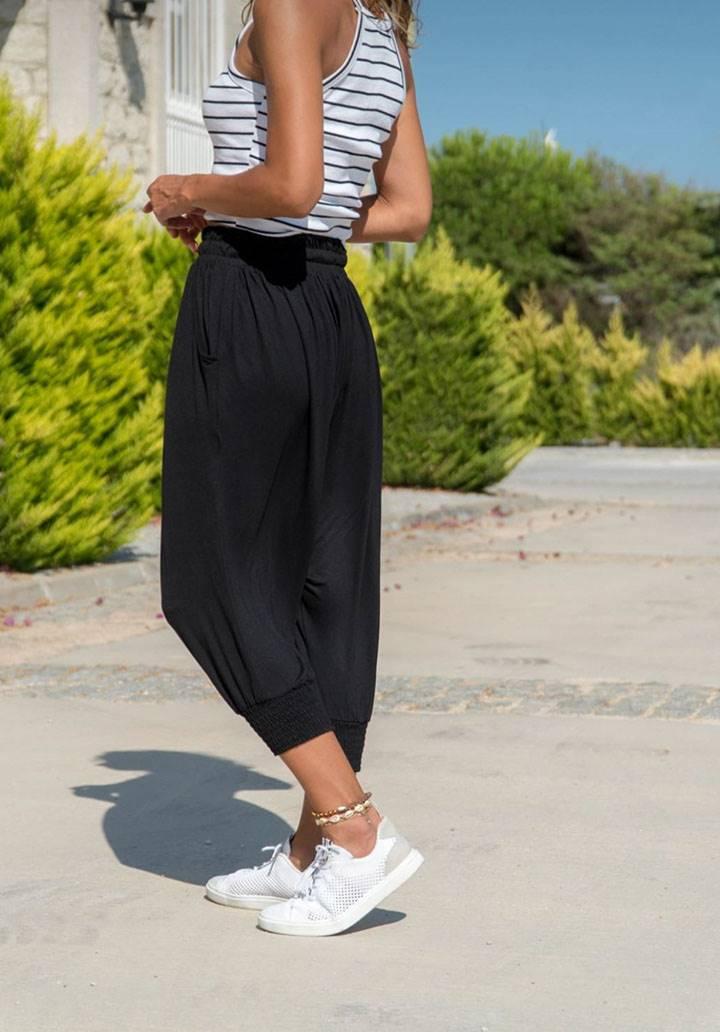 Siyah salaş beli lastikli şalvar pantalon - 3