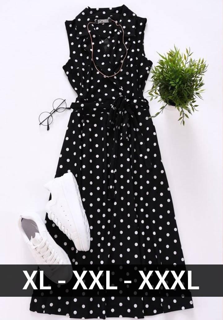 Kruvaze yaka midi boy puantiyeli elbise - 2