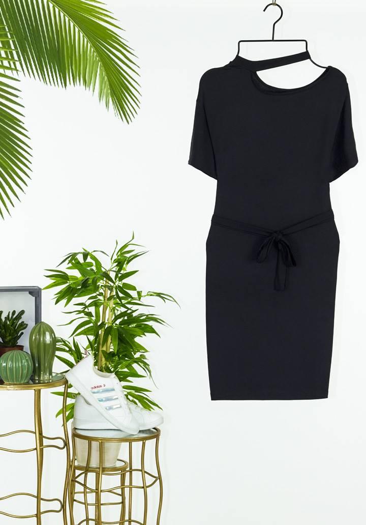Tek omuz dekolteli tasarım elbise(siyah) - 2