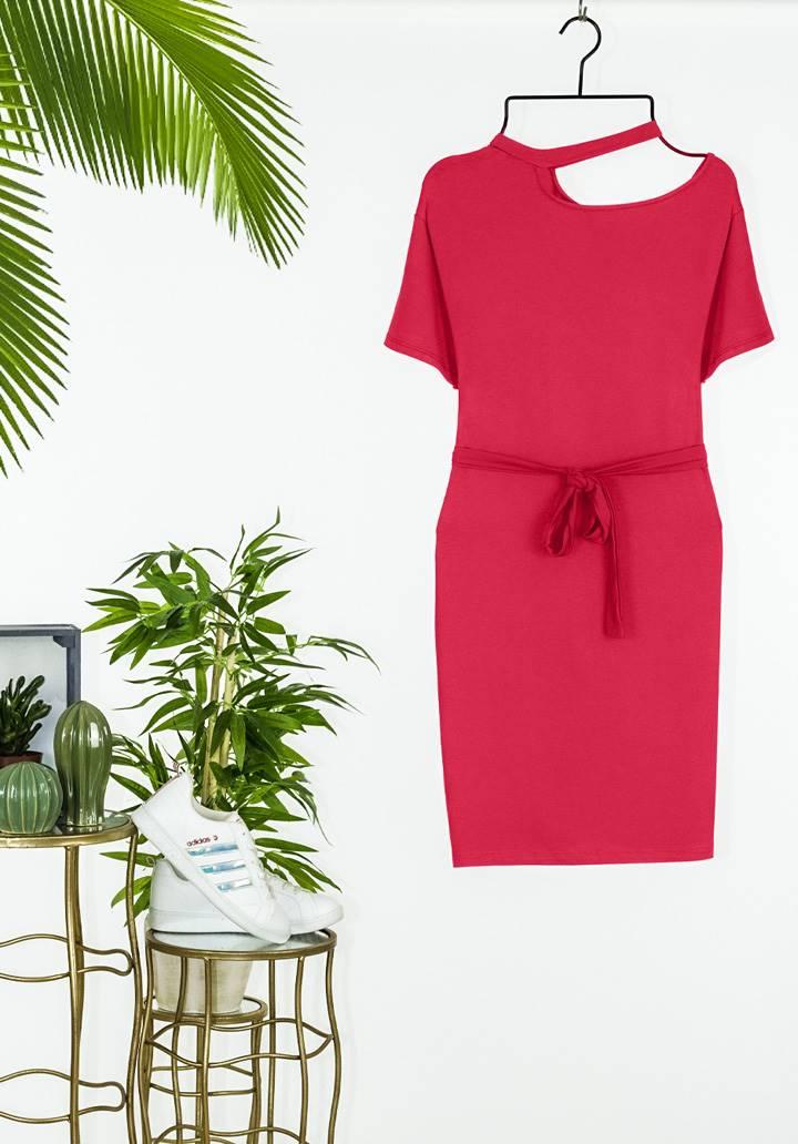 Tek omuz dekolteli tasarım elbise - 2