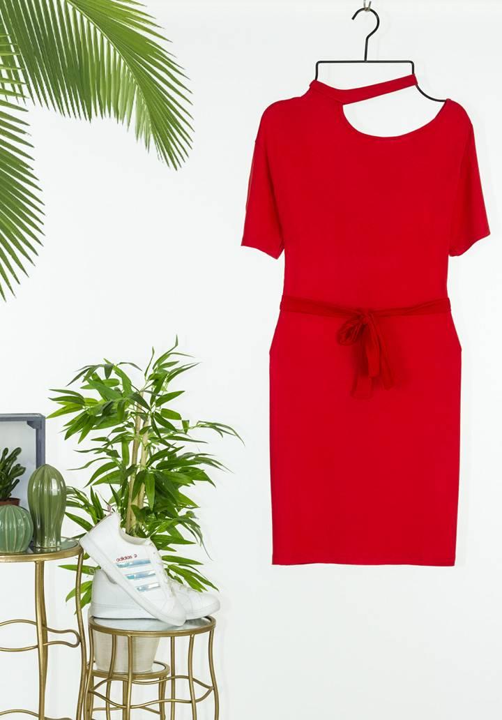 Tek omuz dekolteli tasarım elbise(kırmızı)  - 2