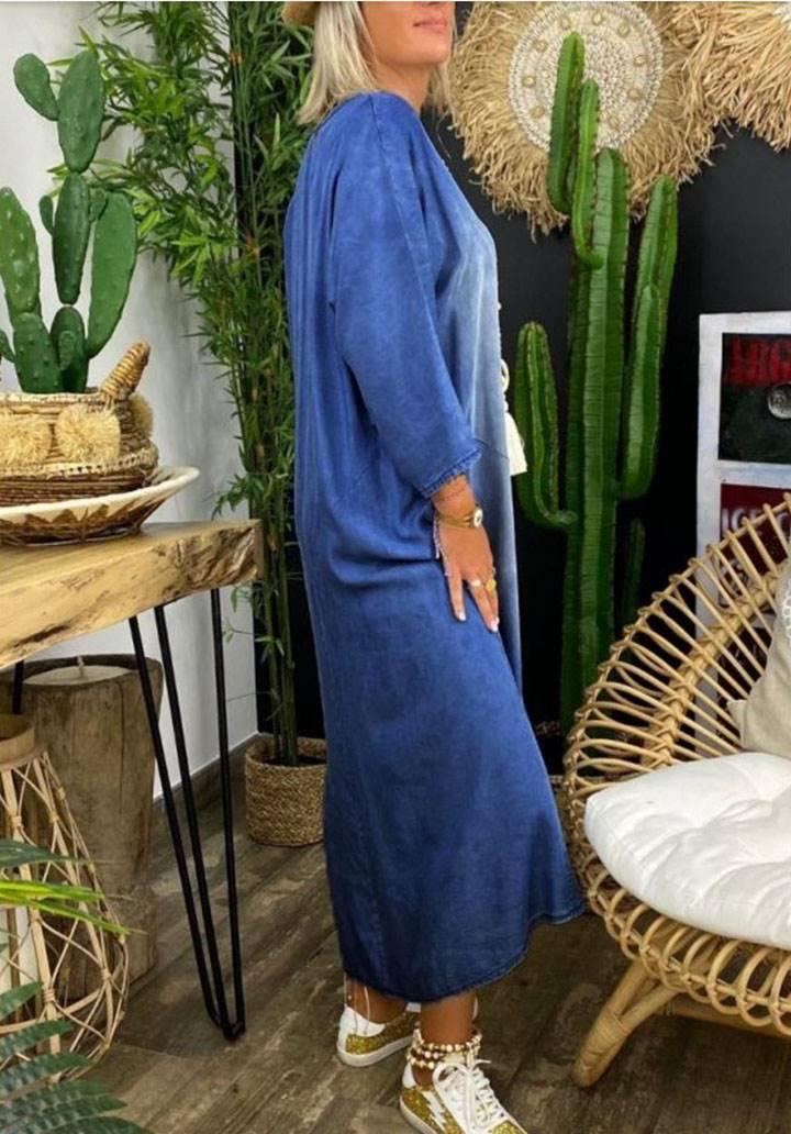 V yaka yeni sezon jean elbise - 2