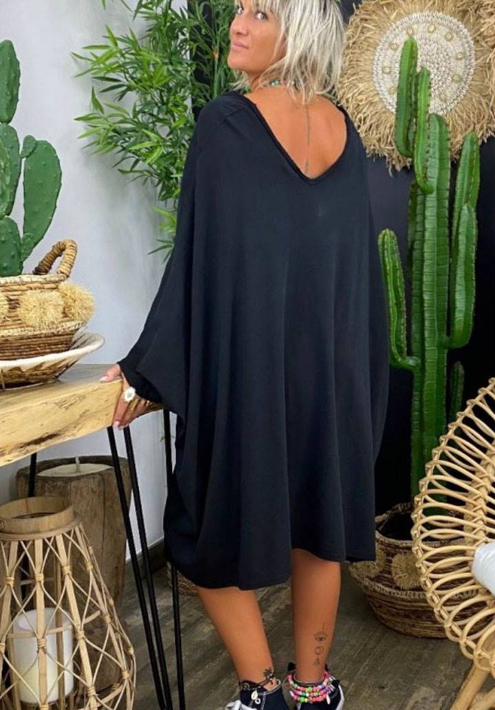 Ön arka V yaka yarasa kol salaş elbise(siyah) - 2