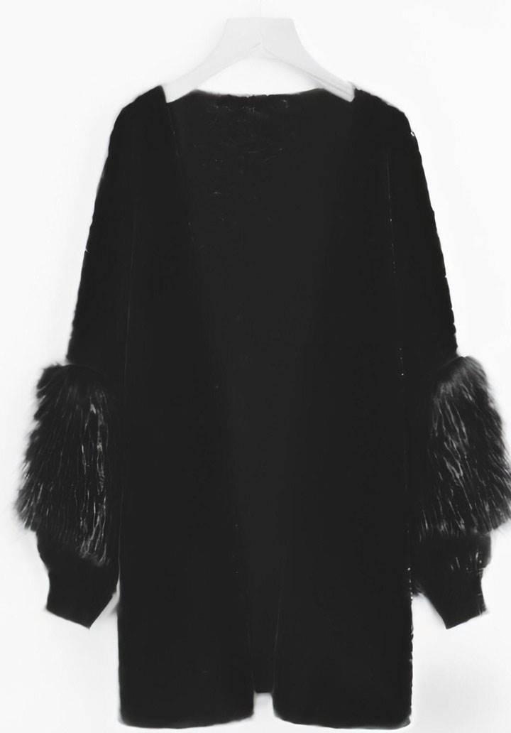 Kolları peluş zara model hırka(siyah) - 2