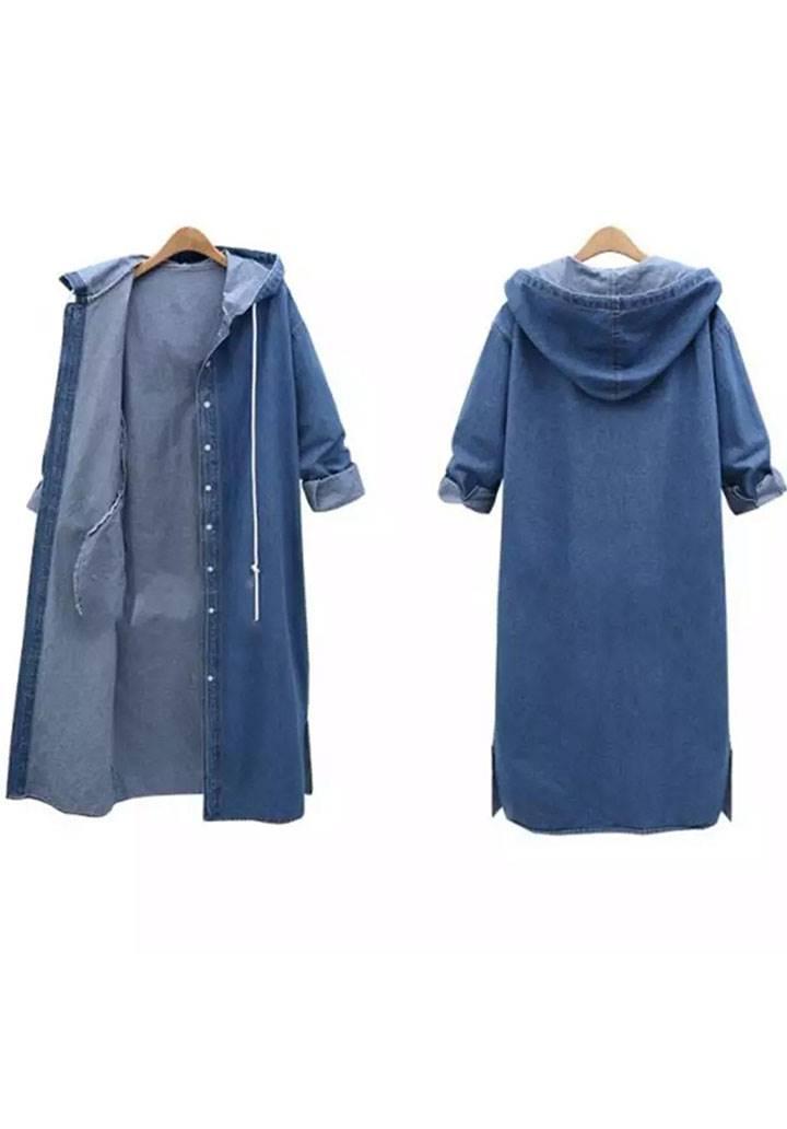 Kapşonlu maxı boy denim ceket - 2