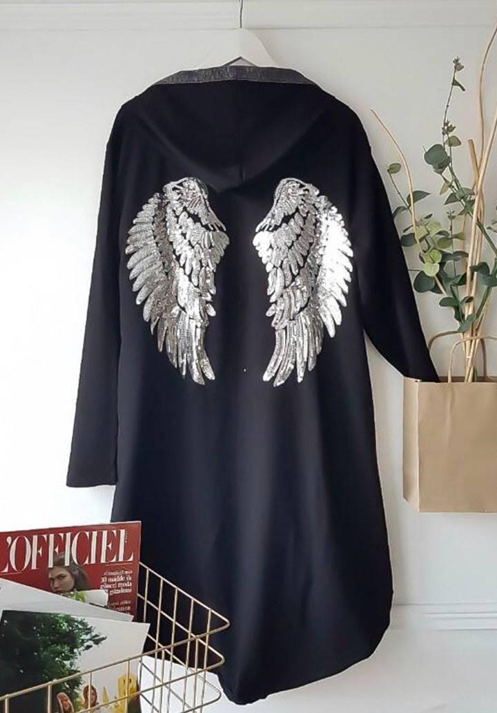 Melek kanat payet işleme kapşonlu ceket(siyah) - 2