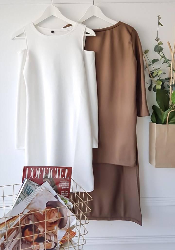 Omuz dekokletli ikili takım elbise(vizon) - 2