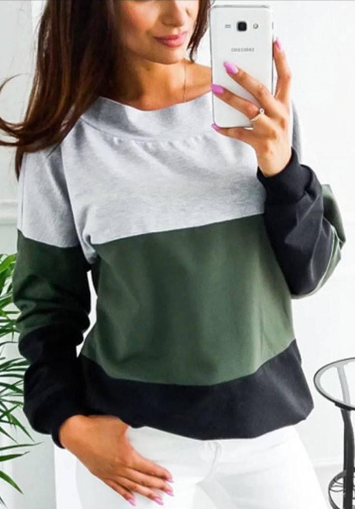 Sırt dekolteli renkli bloglu bluz(yeşil) - 2