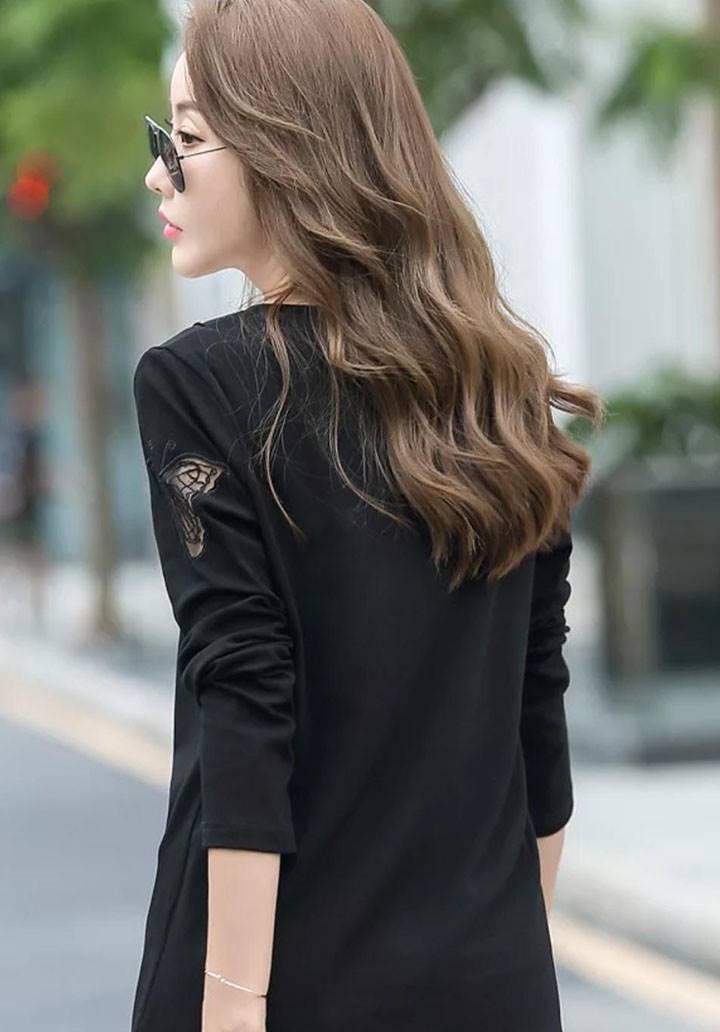 Kolları kelebek nakış işleme inci aksesuarlı bluz(siyah) - 2