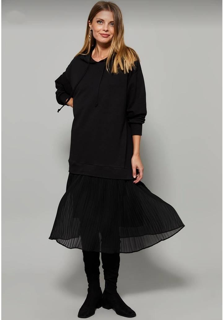 Eteği Pliseli İki İplik Sweat Elbise - 3