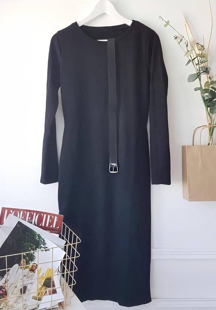 Midi boy kemerli akrelik triko elbise - 3