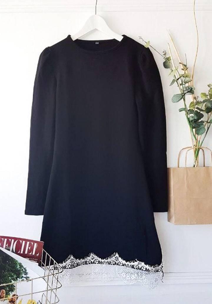 Etek ucu dantel akrelik elbise - 3