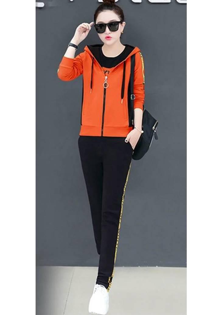 Kapşonlu Şerit Detay İkili Takım (Orange) - 3